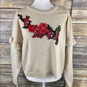 Woven Heart Flower Patch Sweater